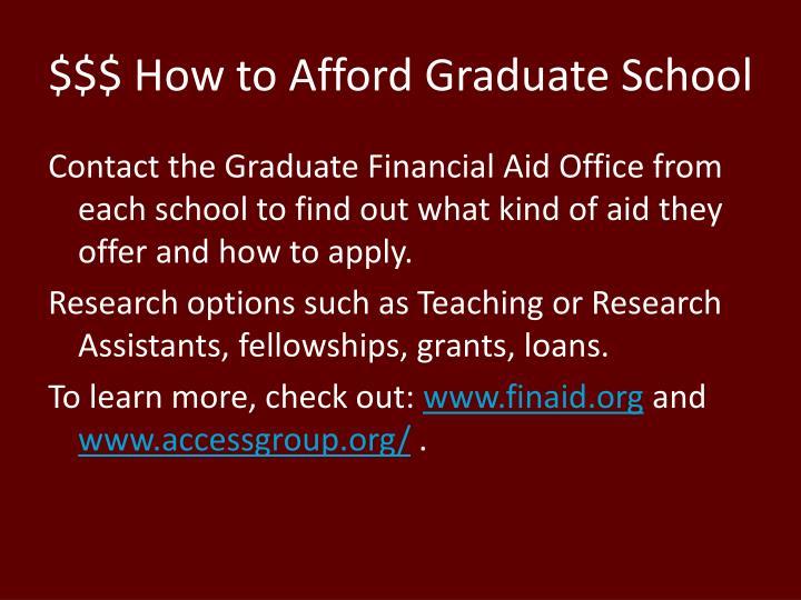 $$$ How to Afford Graduate School