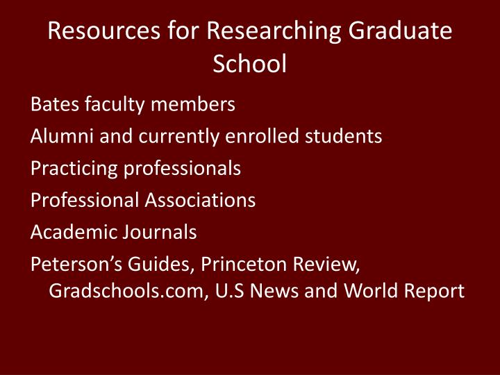 Resources for Researching Graduate School