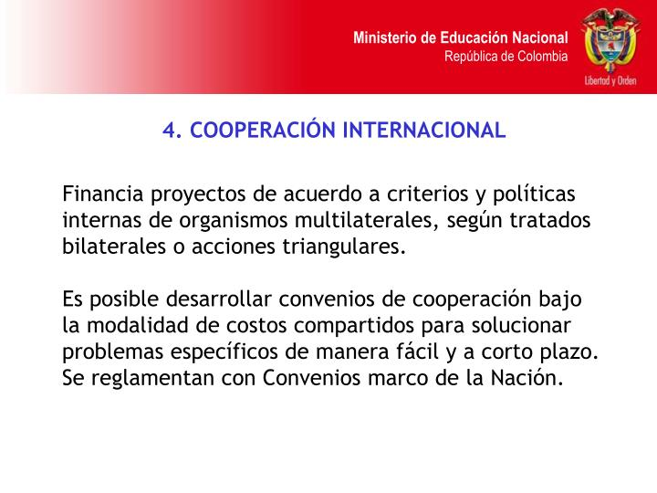 4. COOPERACIÓN INTERNACIONAL