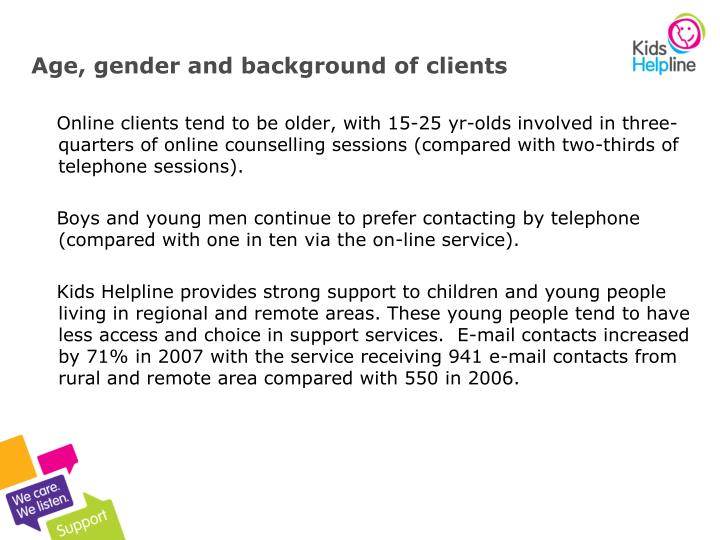 Age, gender and background of clients