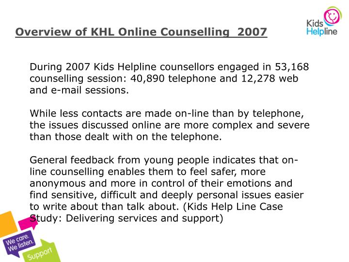 Overview of KHL Online Counselling  2007