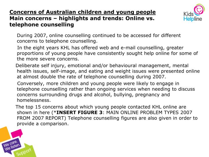 Concerns of Australian children and young people