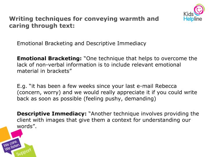 Writing techniques for conveying warmth and caring through text:
