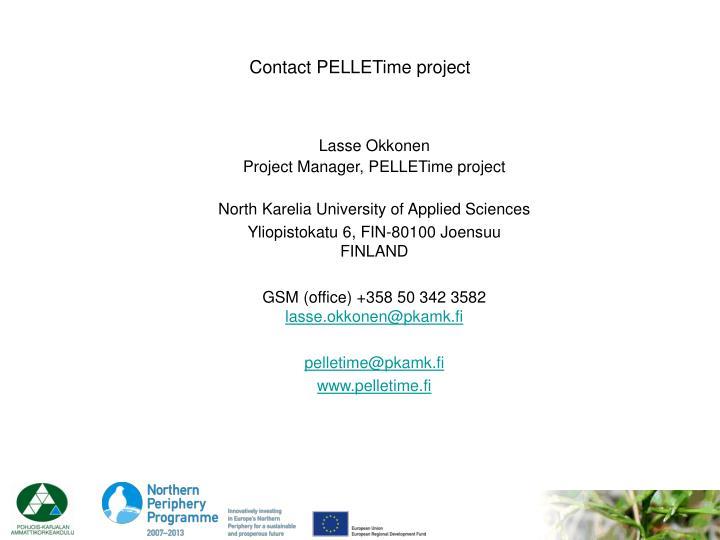 Contact PELLETime project