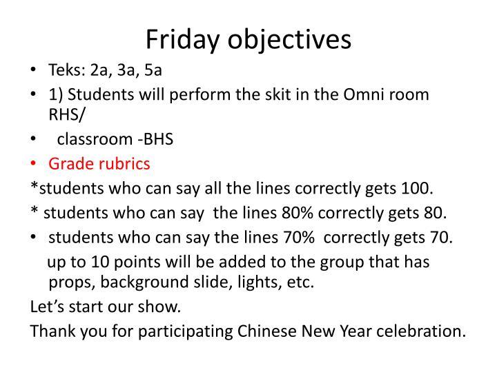 Friday objectives