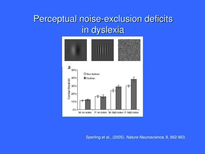 Perceptual noise-exclusion deficits