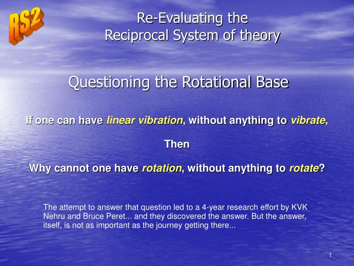 re evaluating the reciprocal system of theory