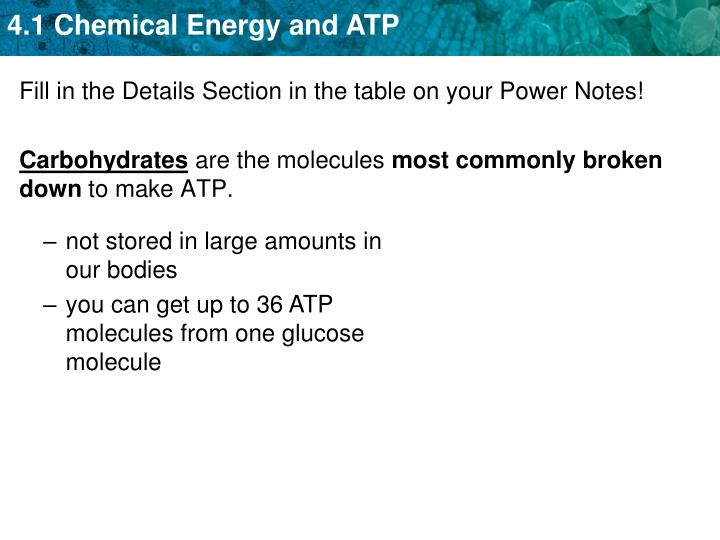 Fill in the Details Section in the table on your Power Notes!
