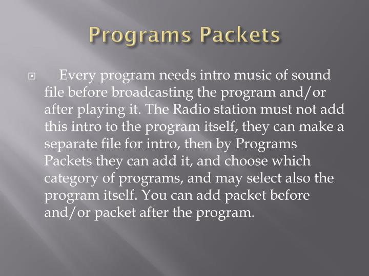 Programs Packets