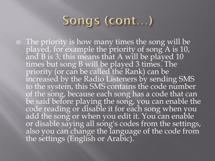 Songs (cont…)