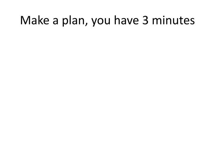 Make a plan, you have 3 minutes