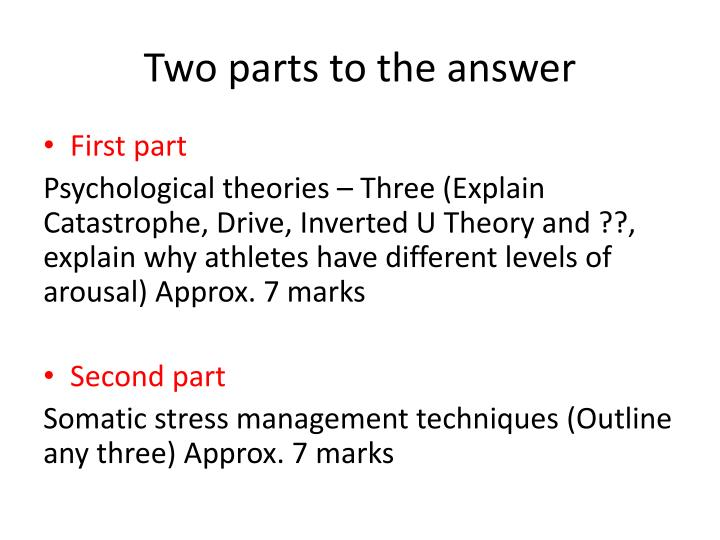 Two parts to the answer