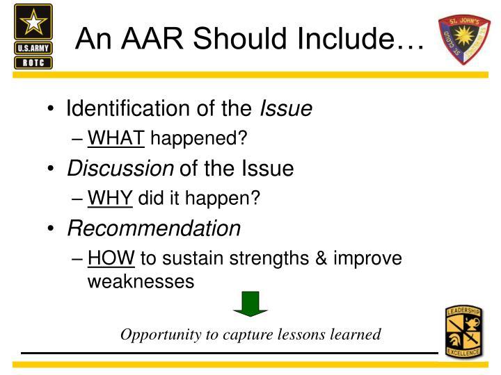 An AAR Should Include…