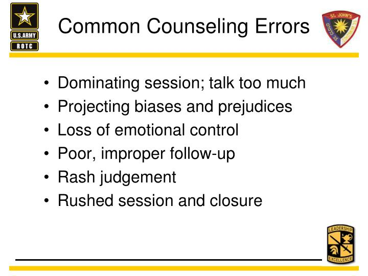 Common Counseling Errors