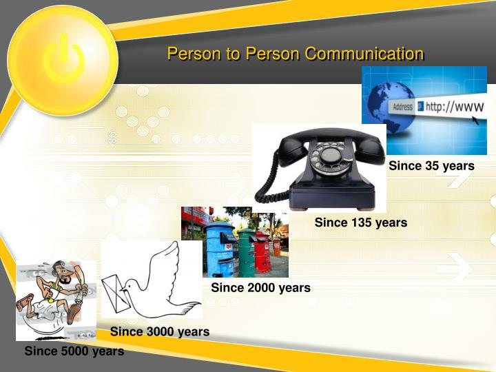 Person to person communication