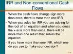 irr and non conventional cash flows