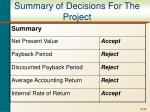 summary of decisions for the project