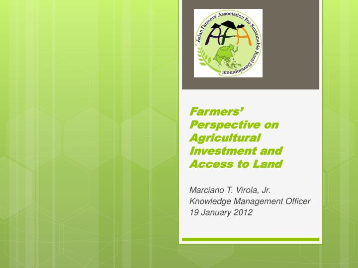 farmers perspective on agricultural investment and access to land n.