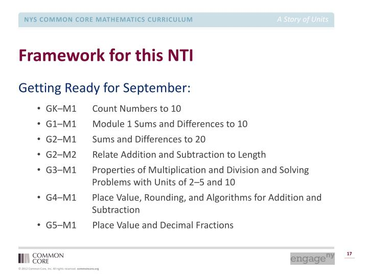 Framework for this NTI
