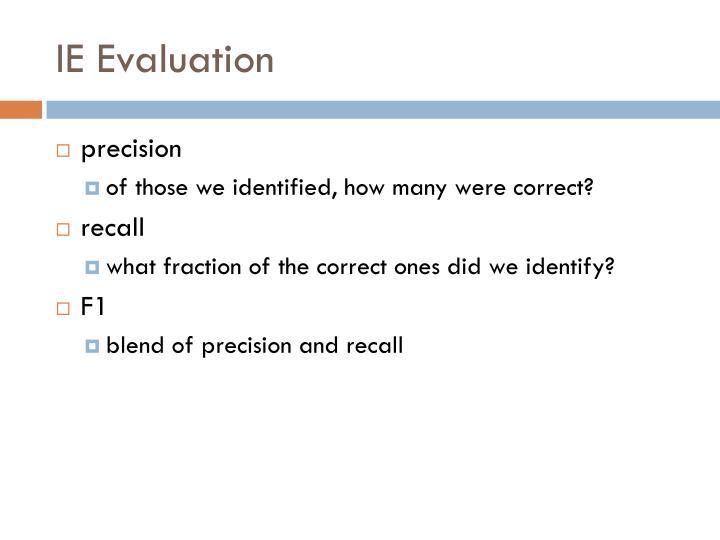 IE Evaluation