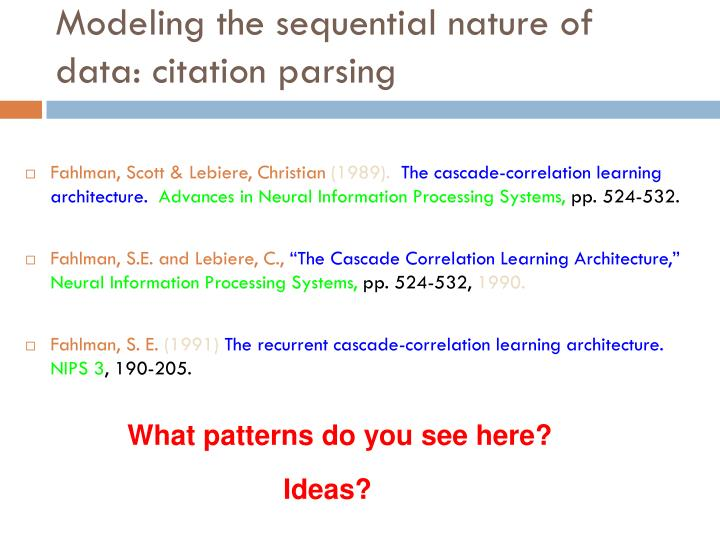 Modeling the sequential nature of data: citation