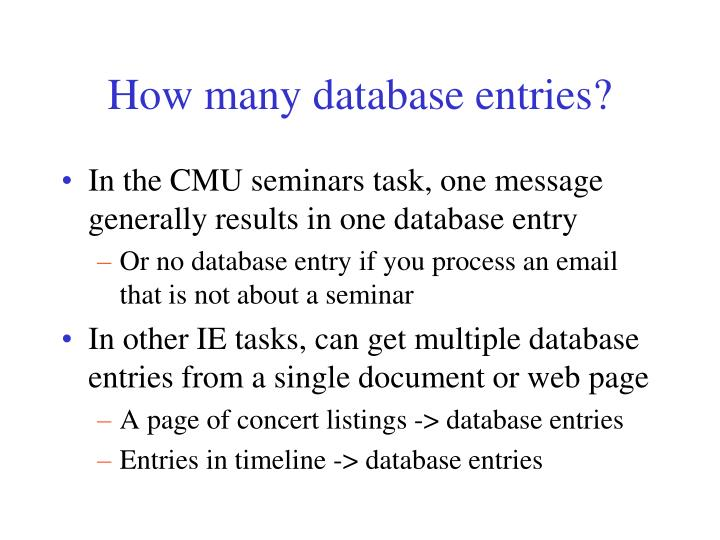 How many database entries?