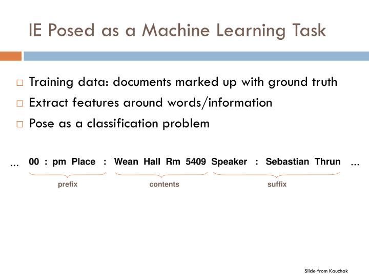 IE Posed as a Machine Learning Task
