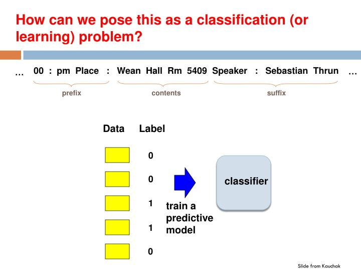 How can we pose this as a classification (or learning) problem?