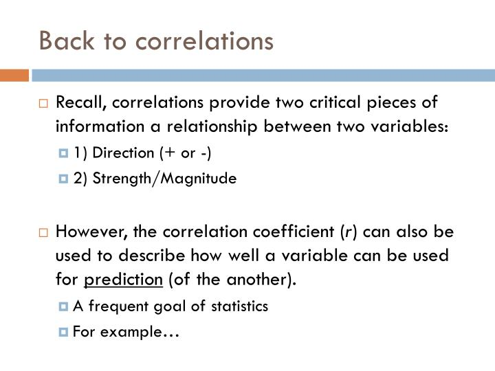 Back to correlations