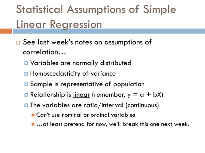 Statistical Assumptions of Simple Linear Regression