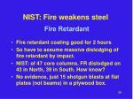 nist fire weakens steel