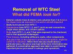 removal of wtc steel what did fema look for