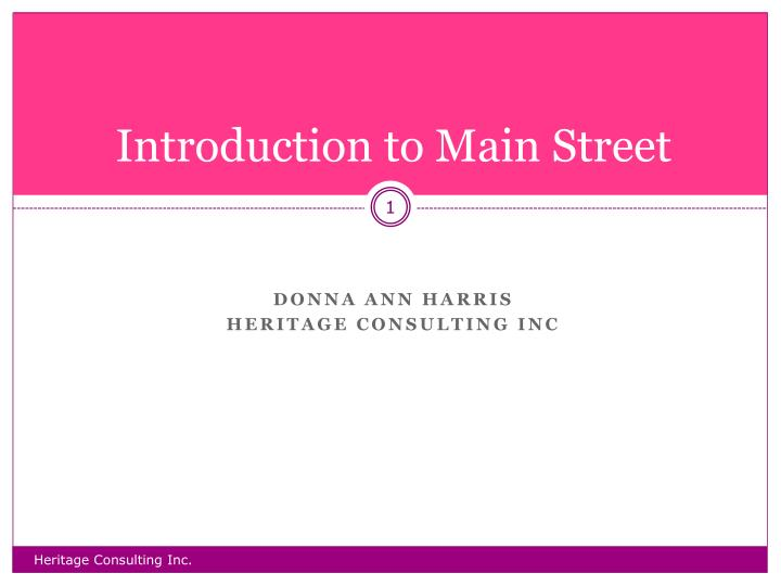 introduction to main street n.