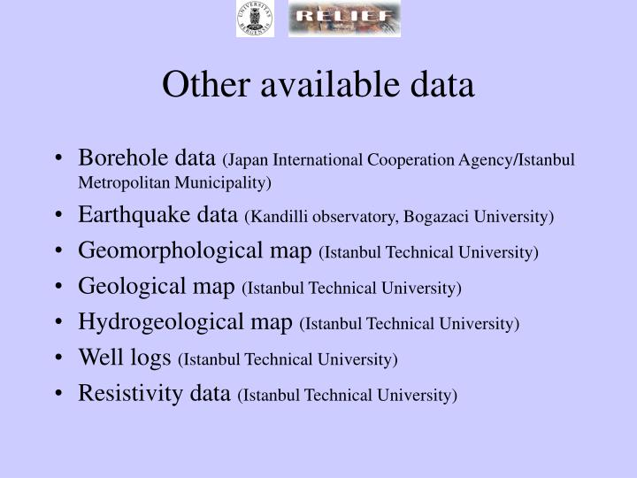 Other available data