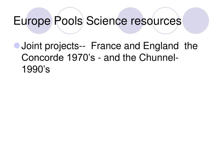 Europe Pools Science resources