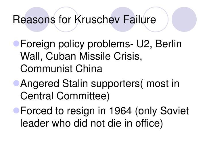 Reasons for Kruschev Failure