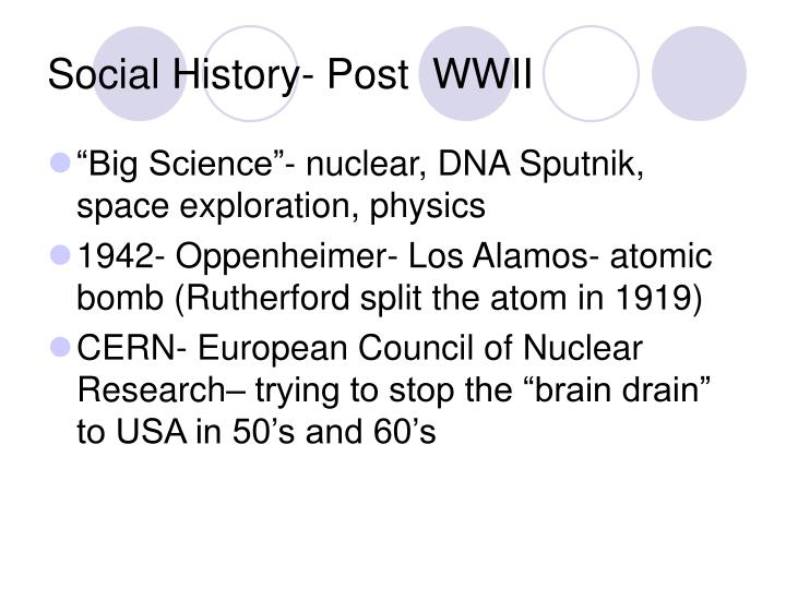 Social History- Post  WWII