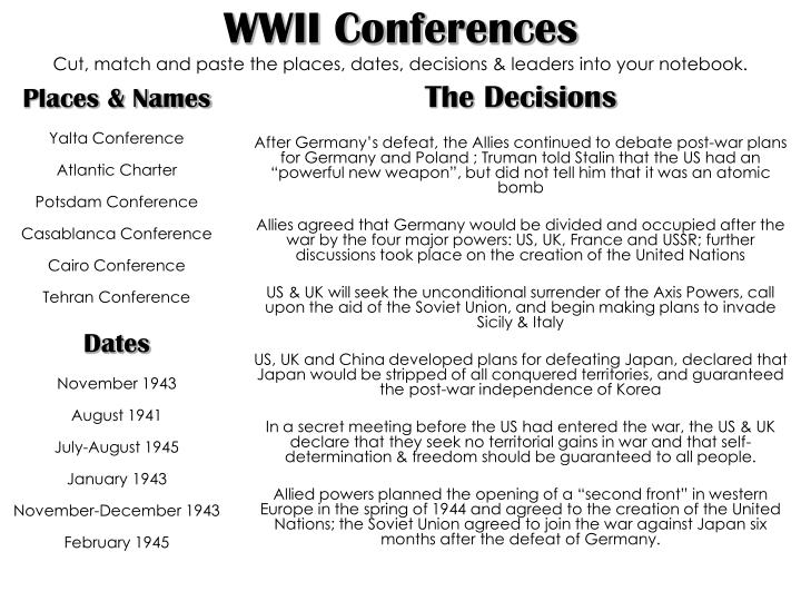 wwii conferences cut match and paste the places dates decisions leaders into your notebook n.