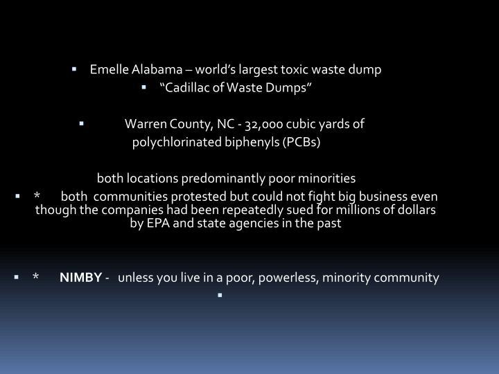 Emelle Alabama – world's largest toxic waste dump