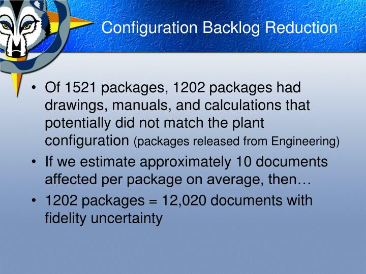 Configuration backlog reduction1