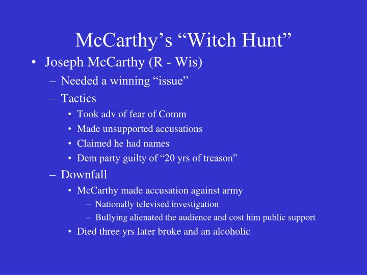 "McCarthy's ""Witch Hunt"""