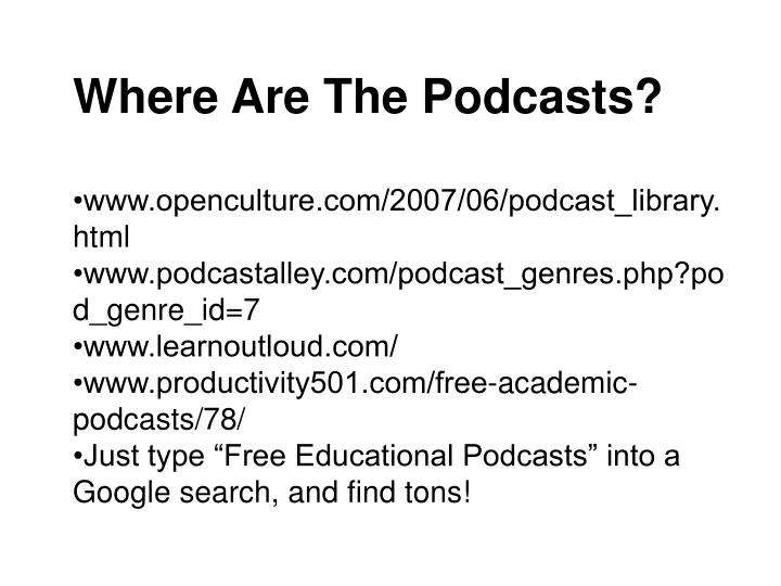 Where Are The Podcasts?