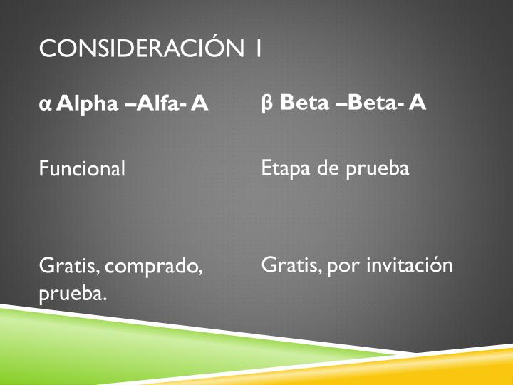 Consideración 1