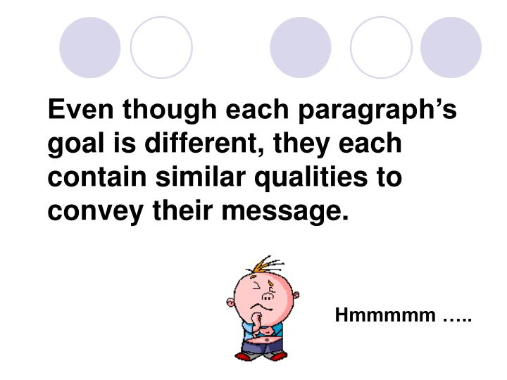 Even though each paragraph's goal is different, they each contain similar qualities to convey their message.