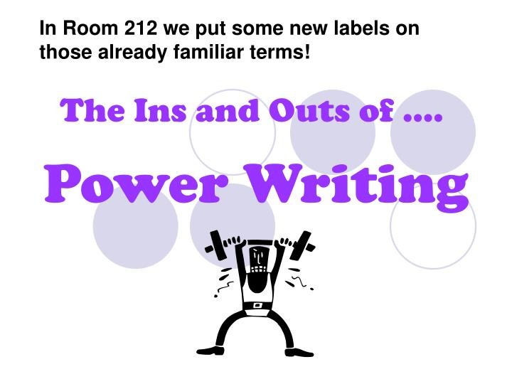 In Room 212 we put some new labels on those already familiar terms!