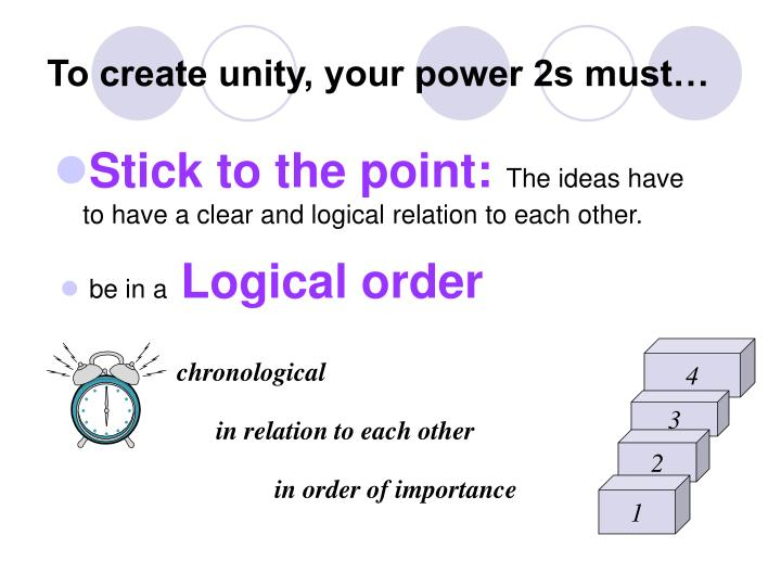 To create unity, your power 2s must…