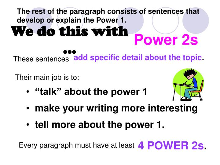 The rest of the paragraph consists of sentences that develop or explain the Power 1.