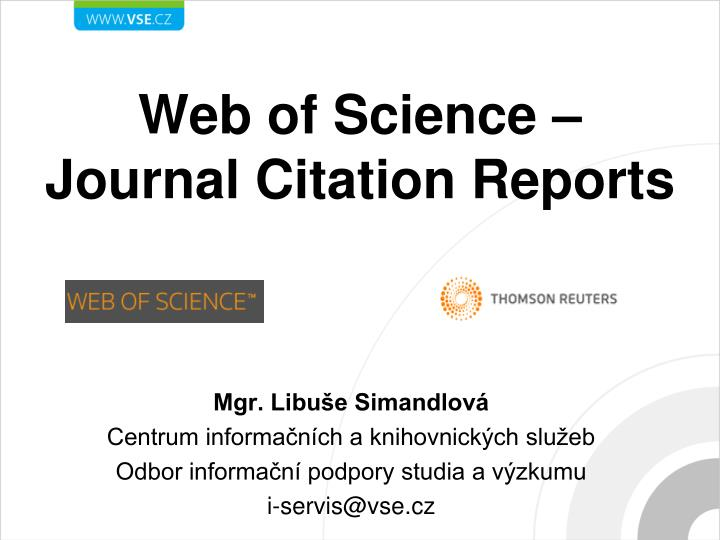 web of science journal citation reports n.