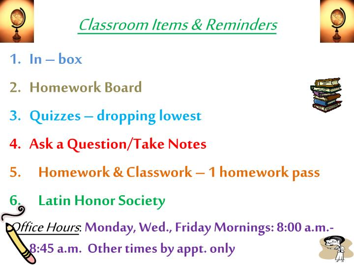 classroom items reminders n.