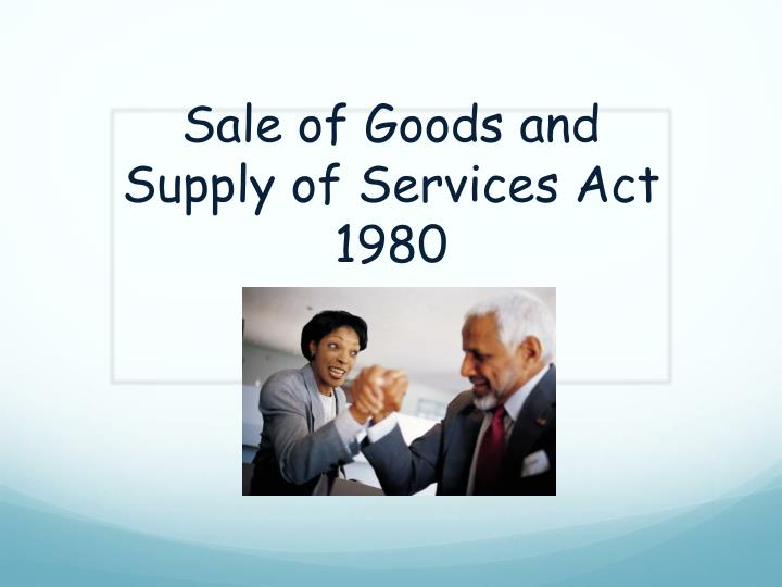 sale of goods and supply of services act 1980 n.